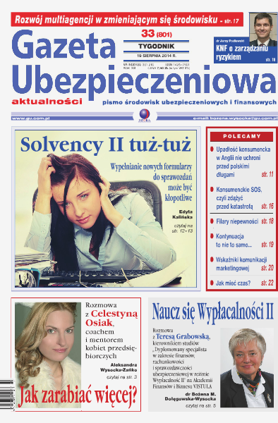 Gazeta Ubezpieczeniowa - wydanie elektroniczne nr 33/2014