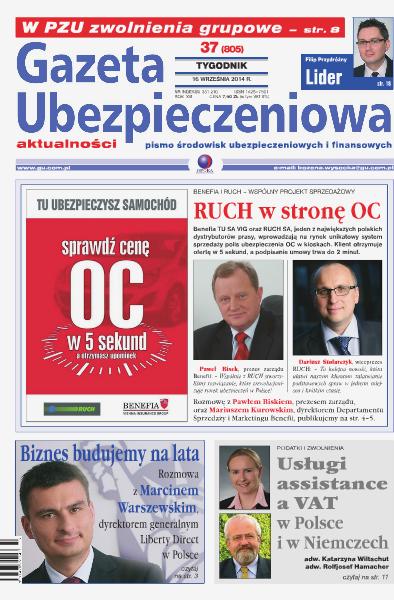 Gazeta Ubezpieczeniowa - wydanie elektroniczne nr 37/2014