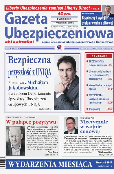 Gazeta Ubezpieczeniowa - wydanie elektroniczne nr 40/2014