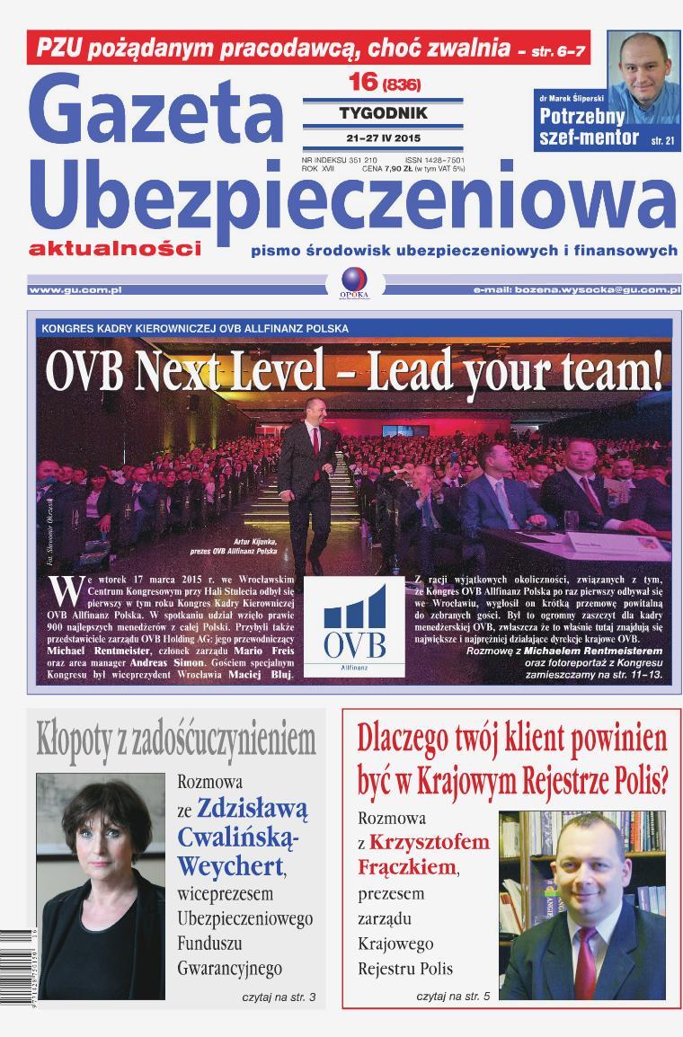 Gazeta Ubezpieczeniowa - wydanie elektroniczne nr 16/2015