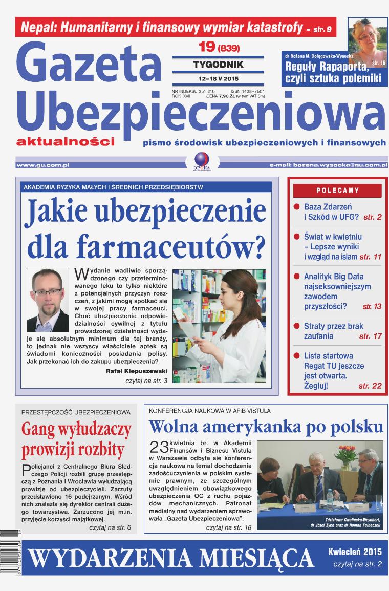 Gazeta Ubezpieczeniowa - wydanie elektroniczne nr 19/2015