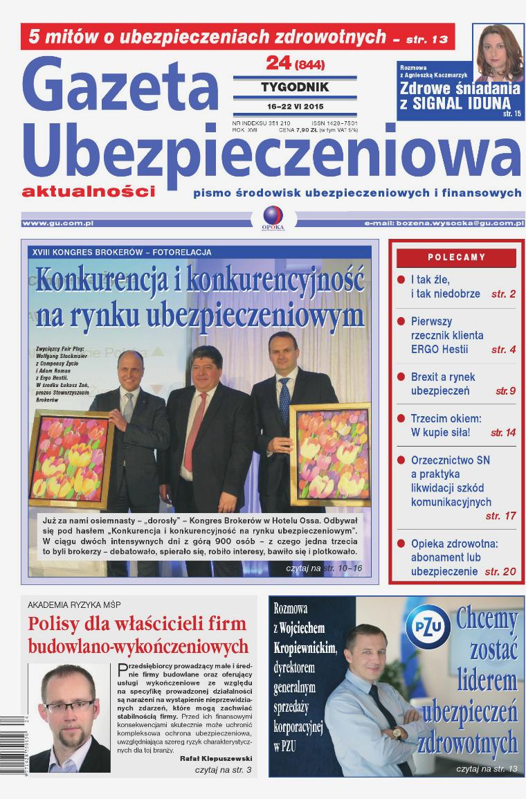 Gazeta Ubezpieczeniowa - wydanie elektroniczne nr 24/2015