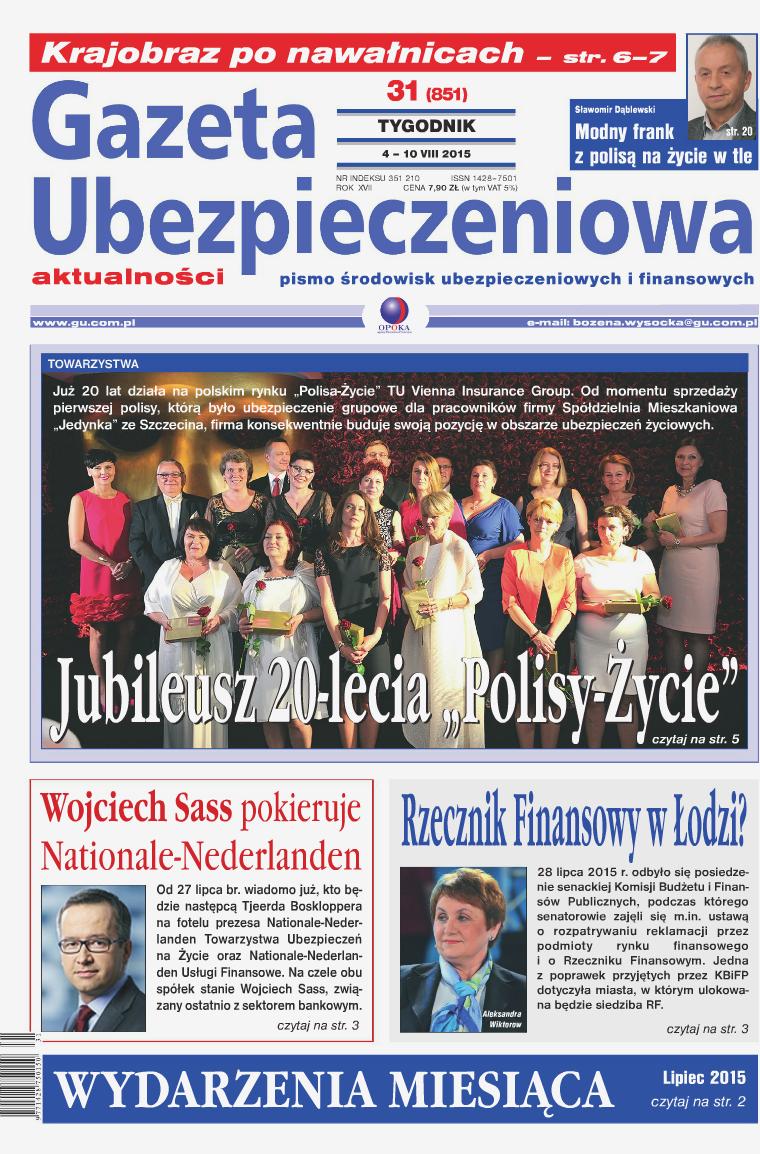 Gazeta Ubezpieczeniowa - wydanie elektroniczne nr 31-2015