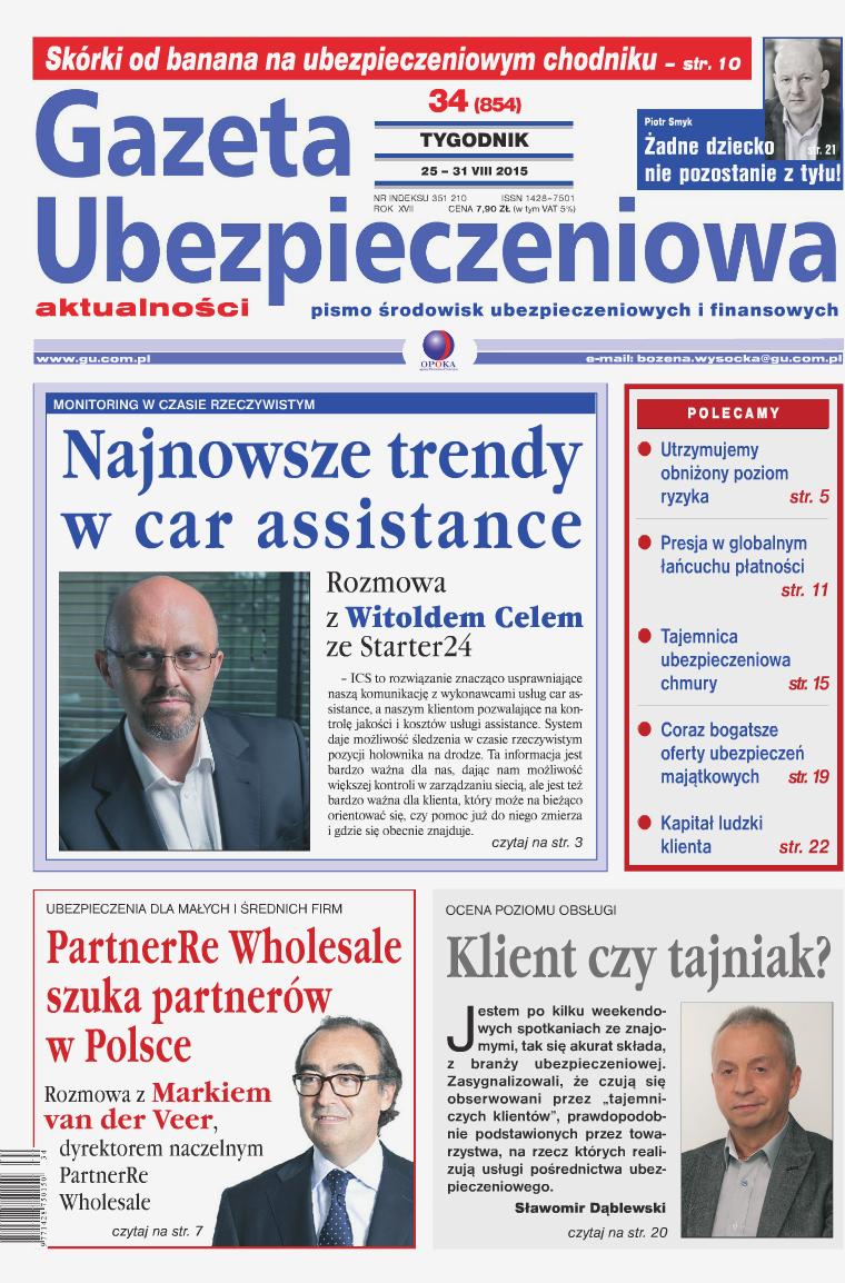 Gazeta Ubezpieczeniowa - wydanie elektroniczne nr 34-2015