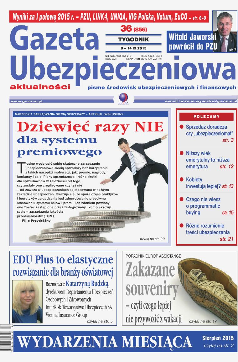 Gazeta Ubezpieczeniowa - wydanie elektroniczne nr 36-2015