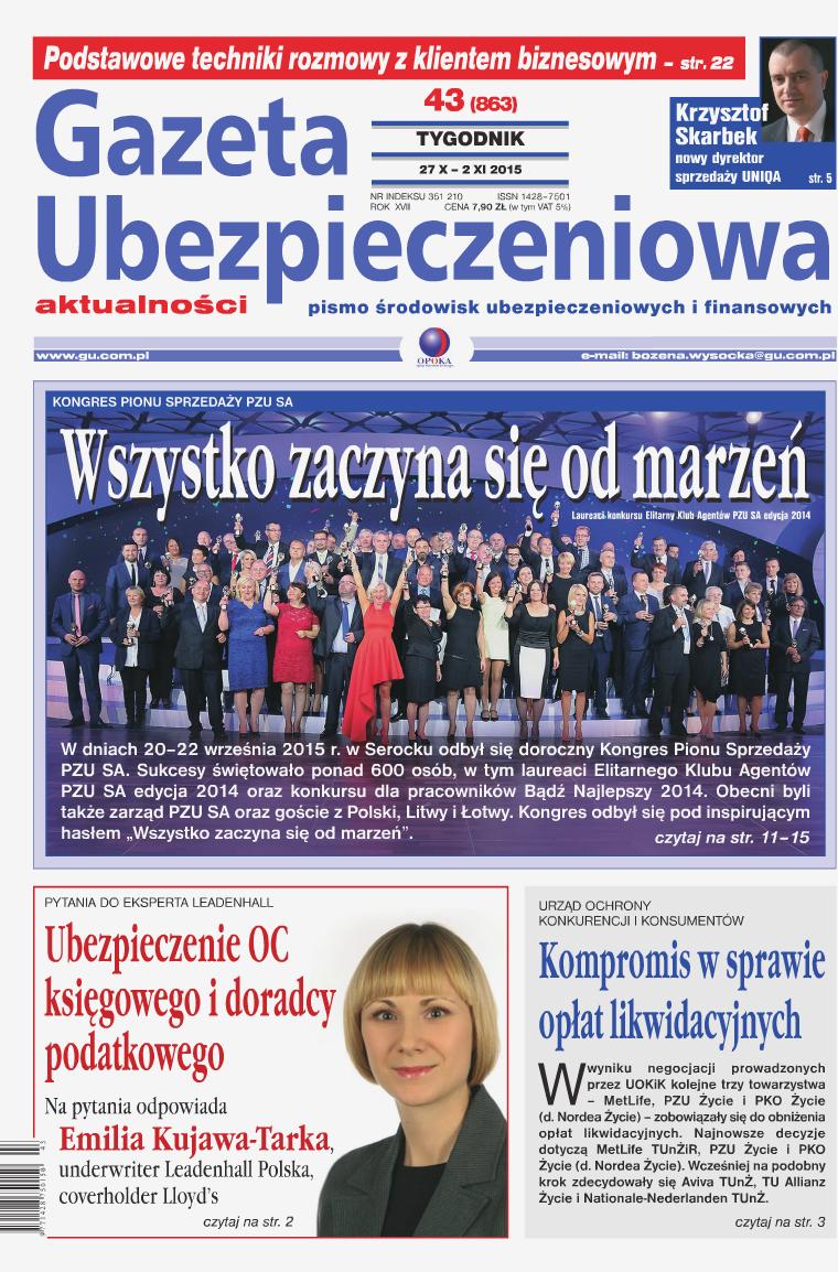Gazeta Ubezpieczeniowa - wydanie elektroniczne nr 43-2015