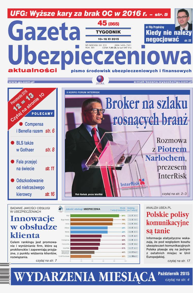 Gazeta Ubezpieczeniowa - wydanie elektroniczne nr 45-2015