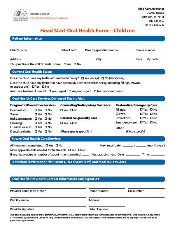 Child Care Associates oral-health-form-children