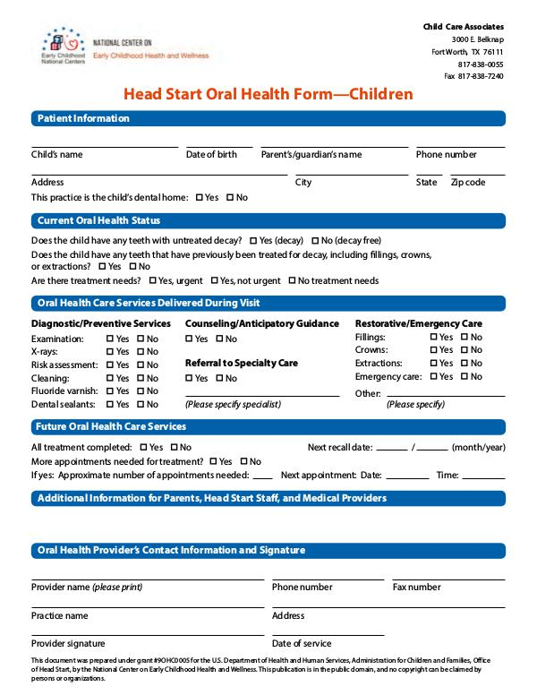 Child Care Associates oral-health-form-children