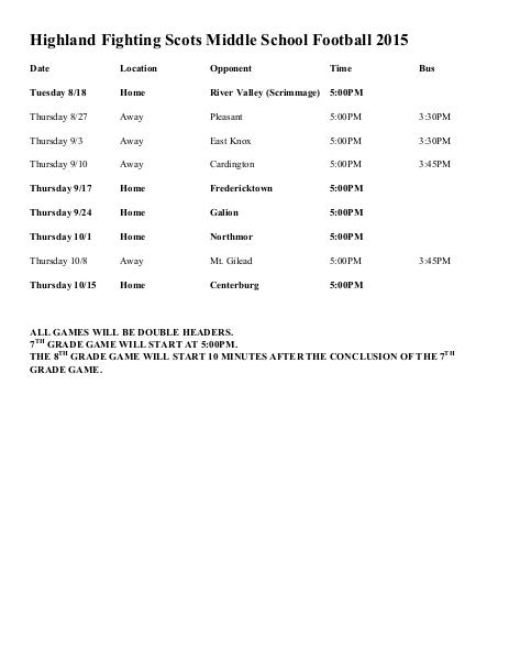 Highland Local SD Schedules CCv1 MS Football 1