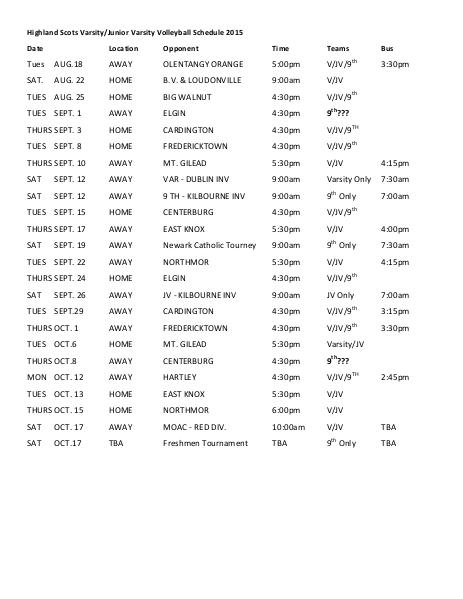 Highland Local SD Schedules CCv1 Volleyball 1