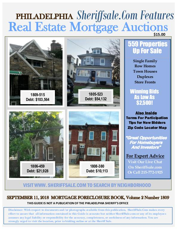 September Philadelphia Foreclosure Color Photo Guide Sept. Philadelphia Foreclosure Auction Guide
