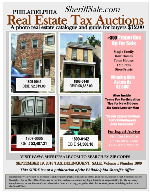 September 19 Philadelphia Tax Auction Color Photo Guide SEPTEMBER 19, 2018 TAX DELINQUENT  SALE, Volume 1(