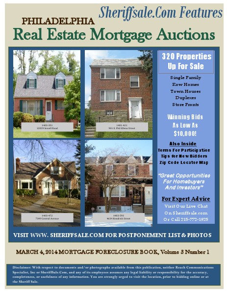 MARCH 4, 2014 MORTGAGE FORECLOSURE BOOK, Volume 3 Number 1 MARCH 4, 2014 MORTGAGE FORECLOSURE BOOK, Volume 3