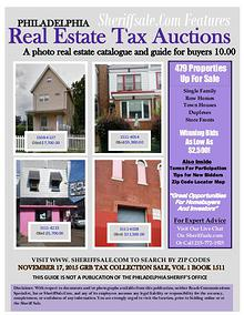 Philadelphia Property Tax Auction November 17. 479 Properties Offered