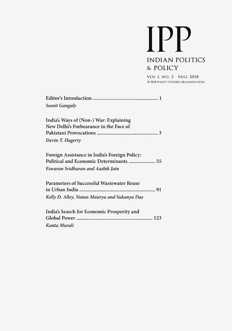 Indian Politics & Policy Volume 1, Number 2, Fall 2018