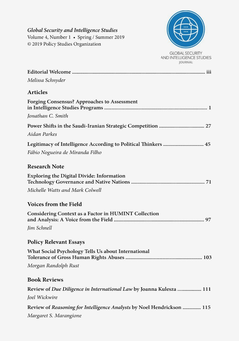 The Journal of International Security Affairs, Spring/Summer 2012