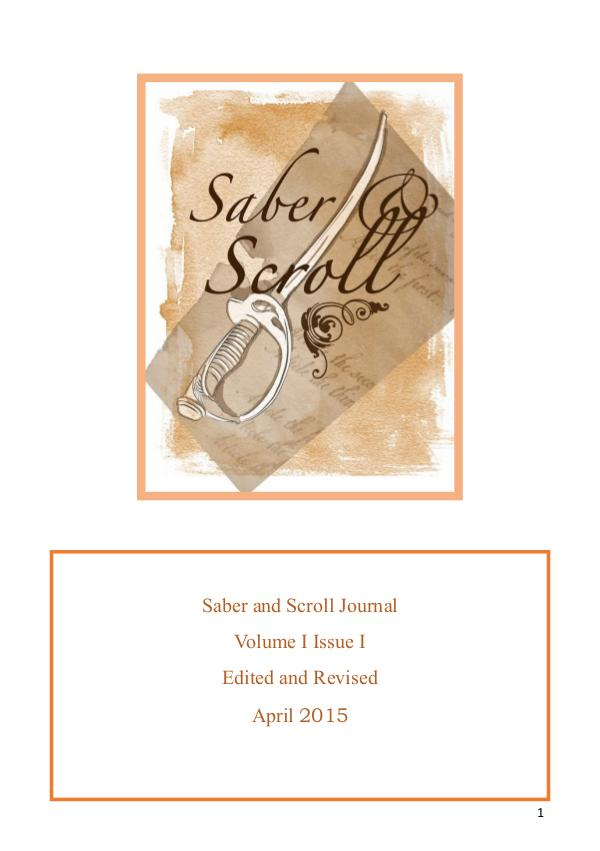 The Saber and Scroll Journal Volume 1, Issue 1, April 2015