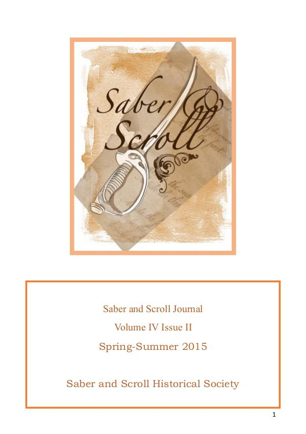 The Saber and Scroll Journal Volume 4, Issue 2, Spring/Summer 2015