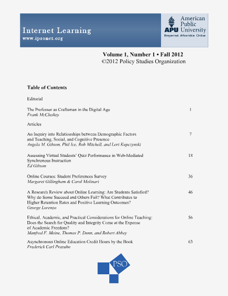 Internet Learning, Volume 1, Number 1 Volume 1, Number 1, Fall 2012
