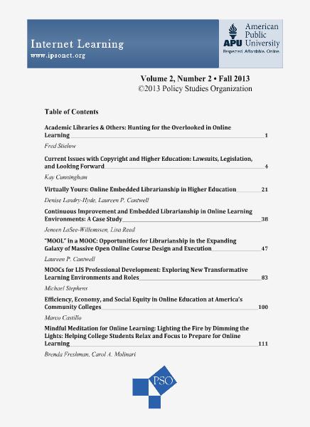 Internet Learning, Volume 1, Number 1 Volume 2, Number 2, Fall 2013