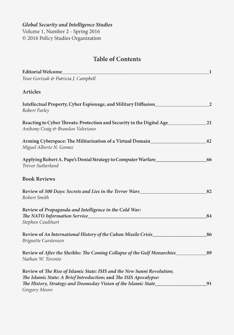 Global Security and Intelligence Studies Volume 1, Number 2, Spring 2016