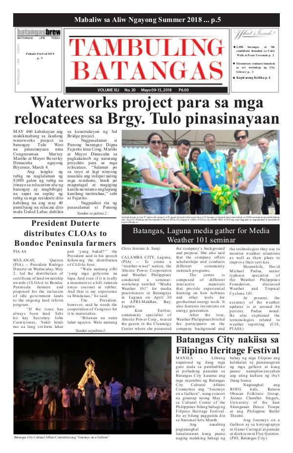 May 09-15, 2018  Issue