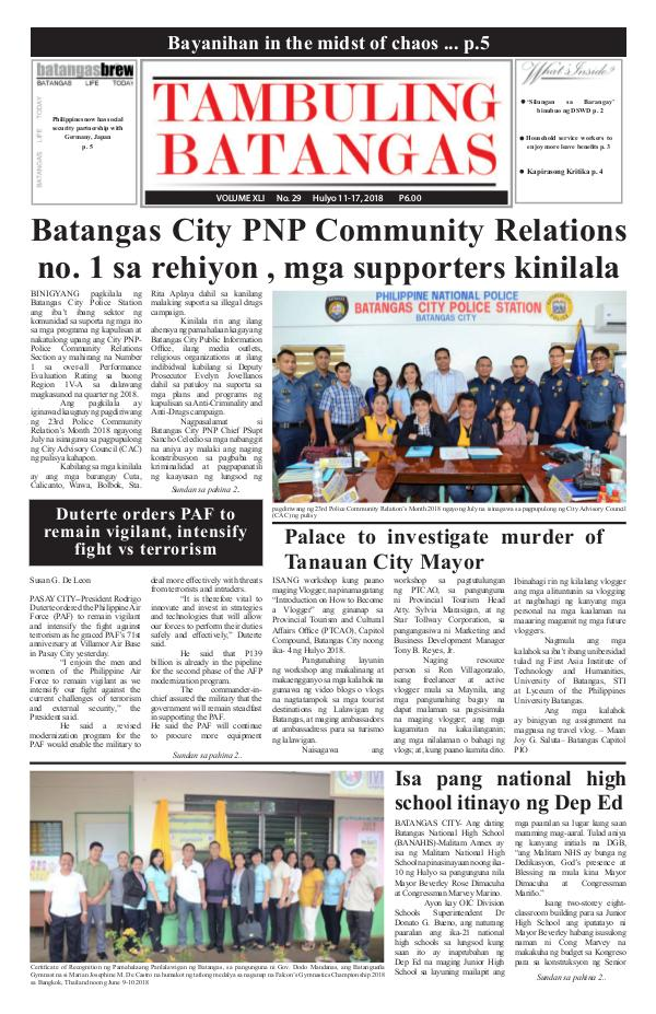 Tambuling Batangas Publication July 11-17, 2018 Issue