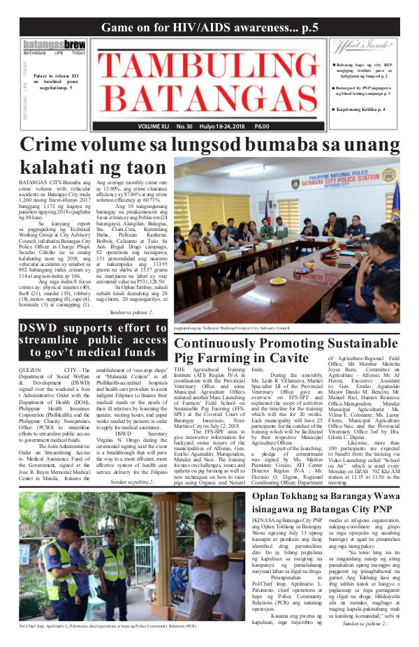 Tambuling Batangas Publication July 18-24, 2018 Issue