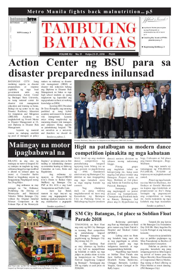 Tambuling Batangas Publication July 24-31, 2018 Issue