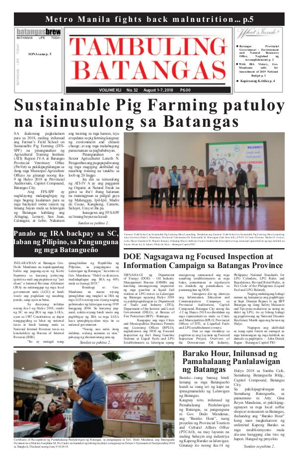 Tambuling Batangas Publication August 01-07, 2018 Issue