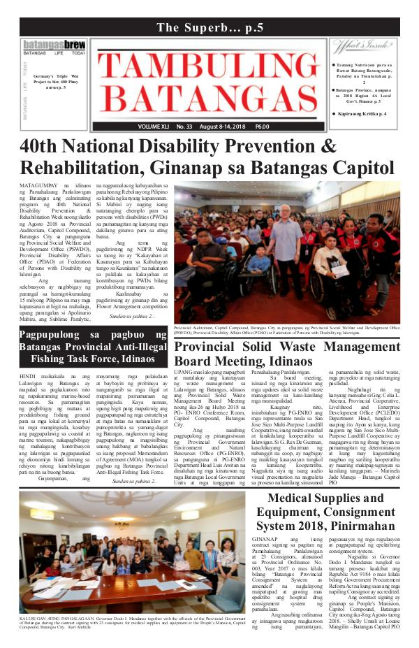 Tambuling Batangas Publication August 08-14, 2018 Issue