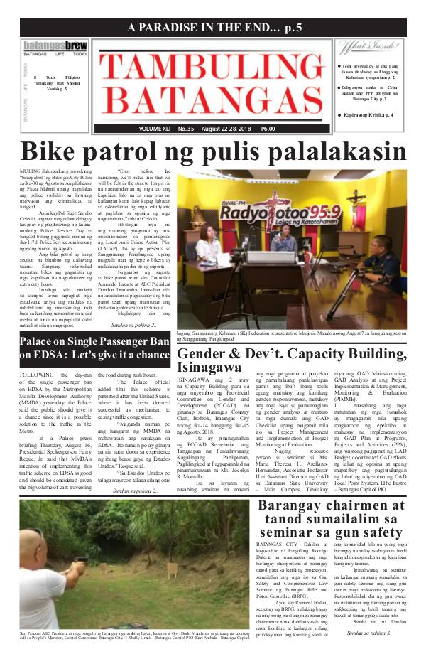 Tambuling Batangas Publication August 22-28, 2018 Issue