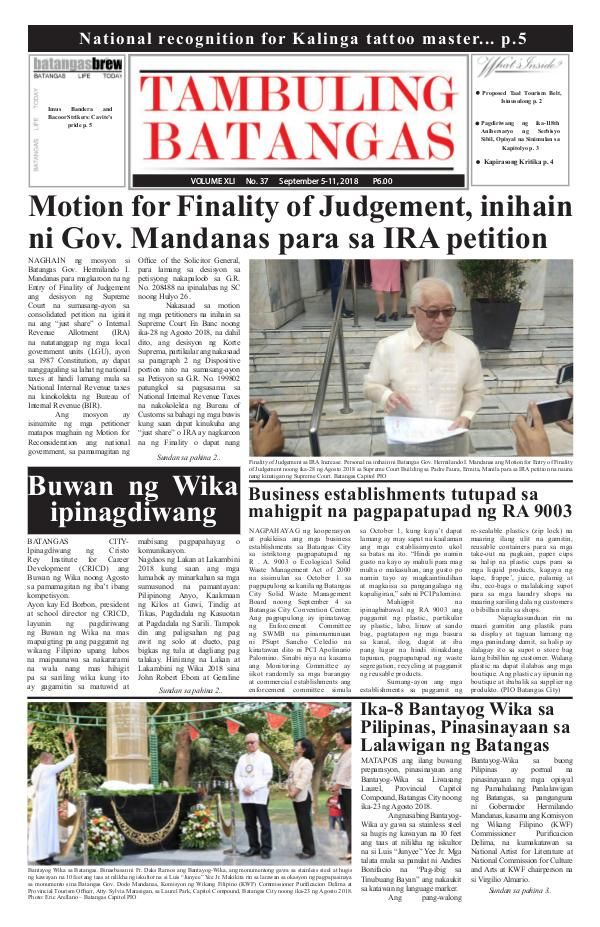 Tambuling Batangas Publication September 05-11, 2018 Issue