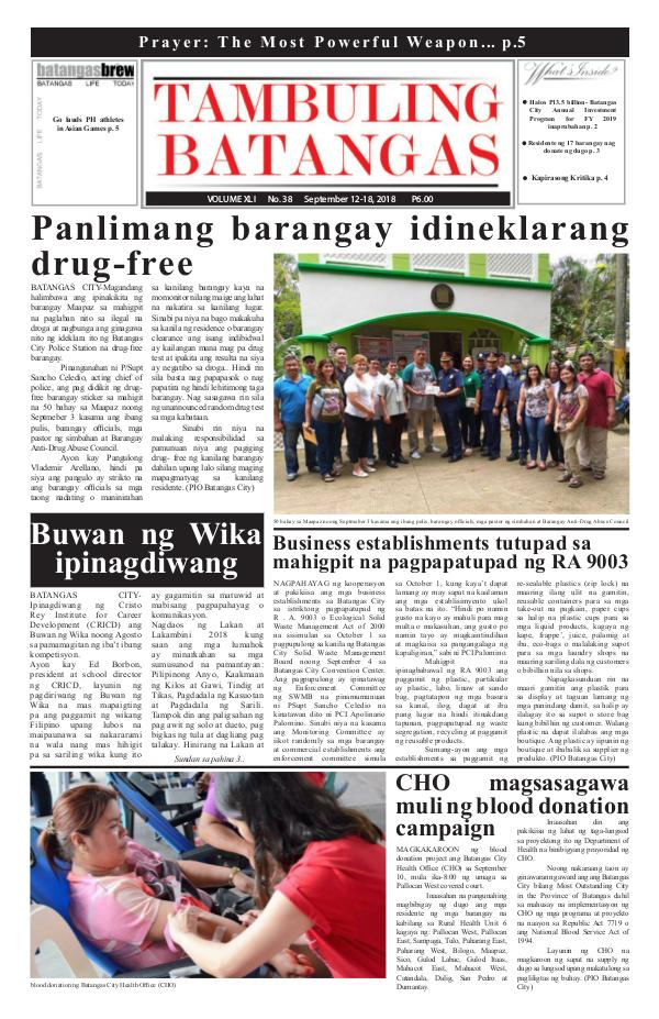 Tambuling Batangas Publication September 12-18, 2018 Issue