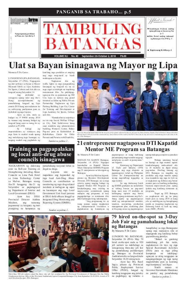 Tambuling Batangas Publication September 26-October 02, 2018 Issue