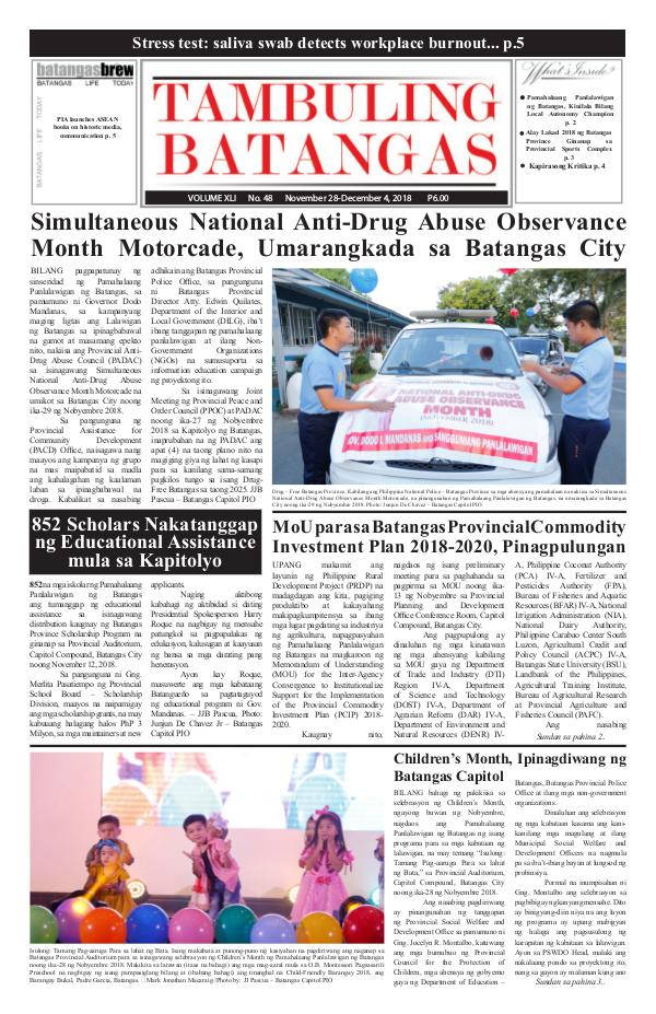 Tambuling Batangas Publication November 28-December 04, 2018 Issue
