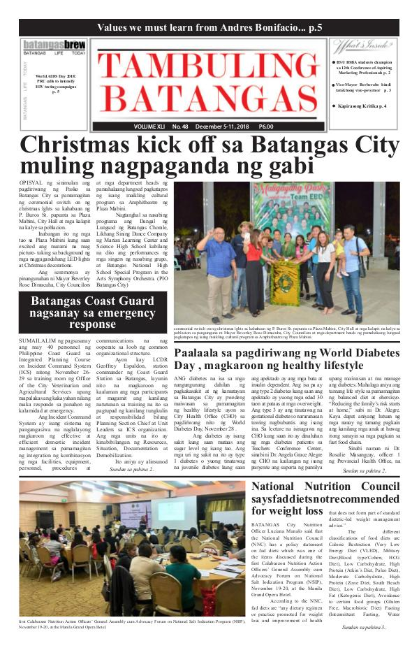 Tambuling Batangas Publication December 05-11, 2018 Issue