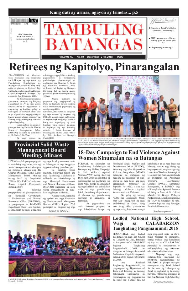 Tambuling Batangas Publication December 12-18, 2018 Issue