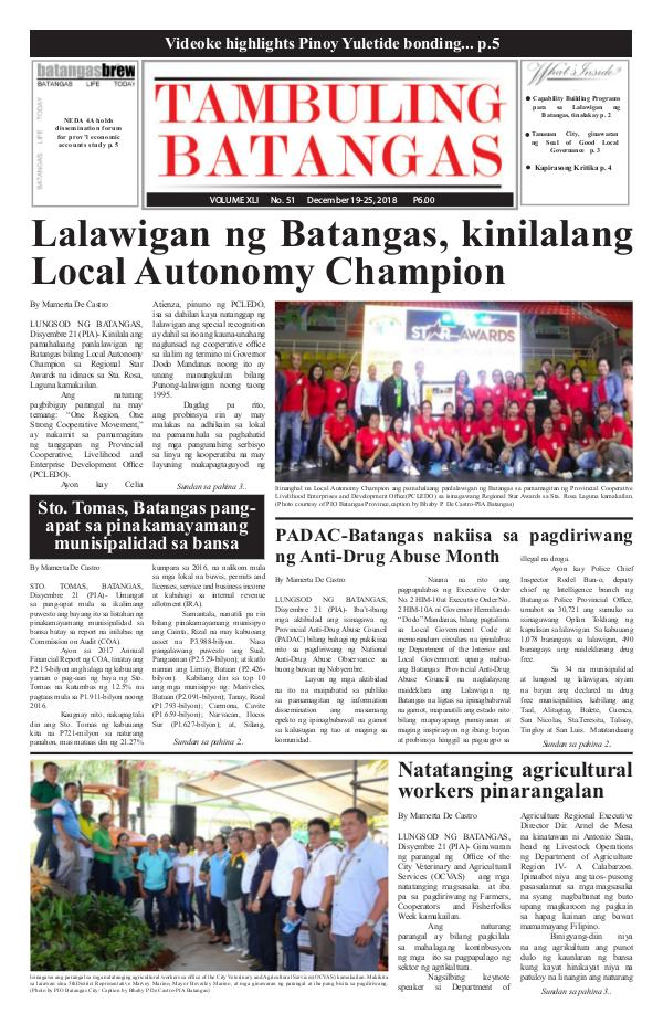 Tambuling Batangas Publication December 19-25, 2018 Issue