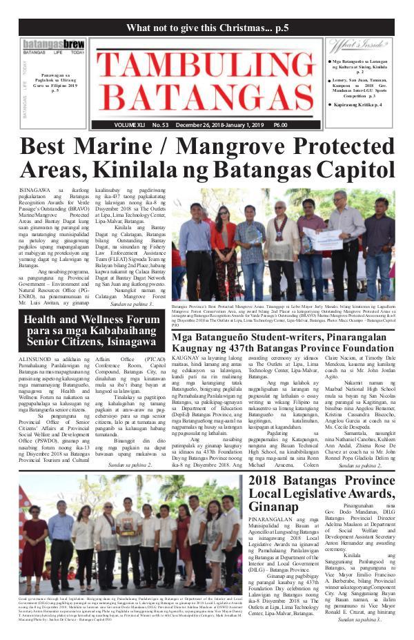 Tambuling Batangas Publication December 26, 2018-January 01, 2019