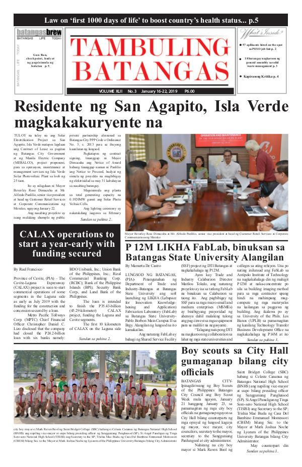 Tambuling Batangas Publication January 16-22, 2019 issue