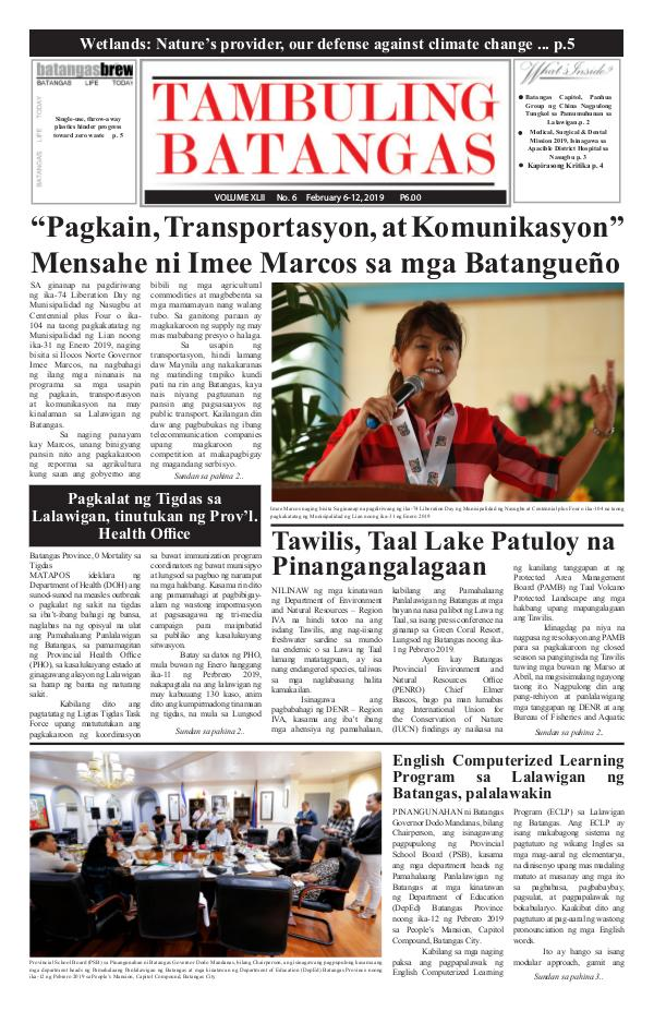 Tambuling Batangas Publication February 06-12, 2019 Issue