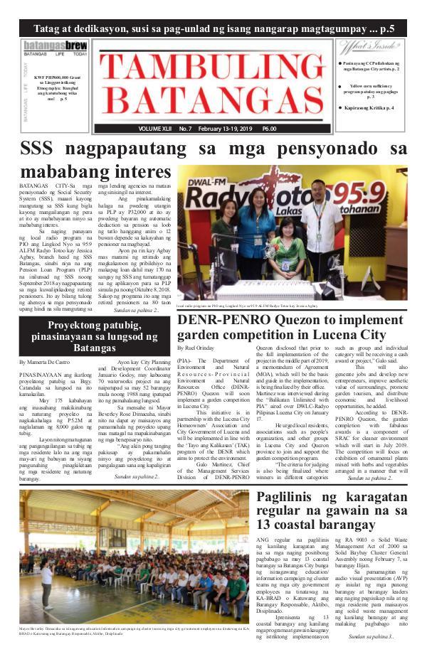 Tambuling Batangas Publication February 13-19, 2019 Issue