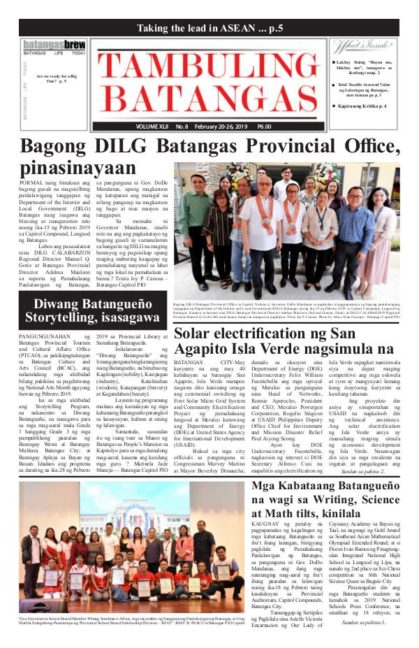 Tambuling Batangas Publication February 20-26, 2019 Issue