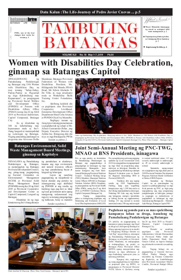 Tambuling Batangas Publication May 01-07, 2019 Issue