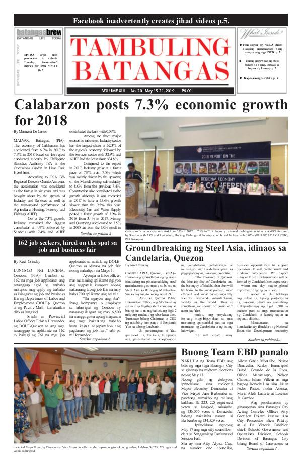 Tambuling Batangas Publication May 15-21, 2019 Issue