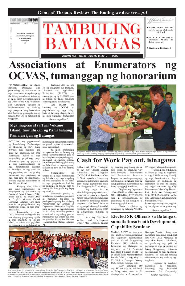 Tambuling Batangas Publication June 05-11, 2019 Issue