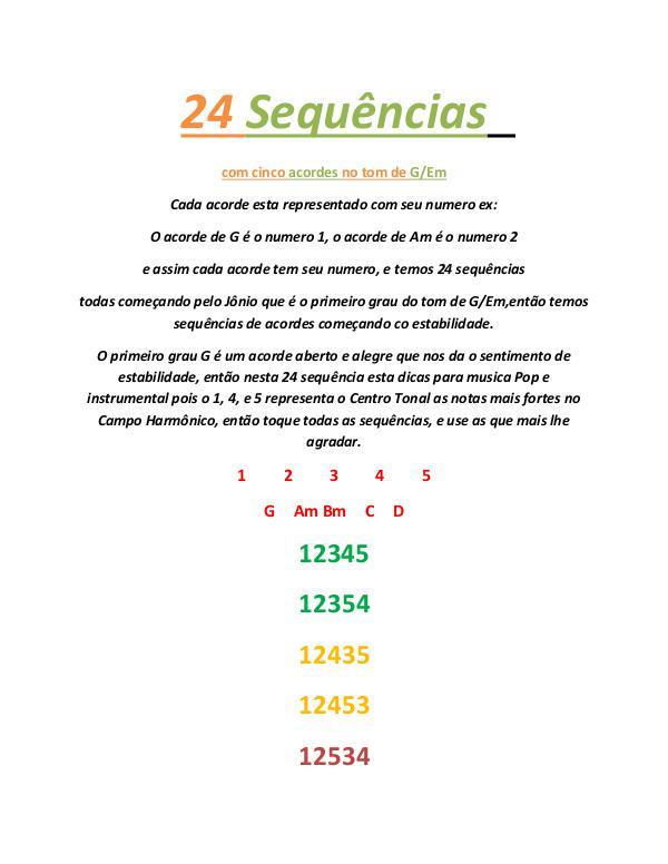 24 Sequência com cinco acordes no tom de G-Em