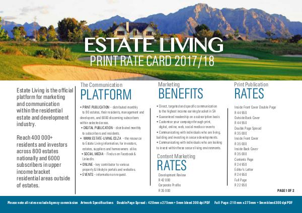 Estate Living Rate Card 2017/2018 Estate Living_Print 2017_8 Ratecard